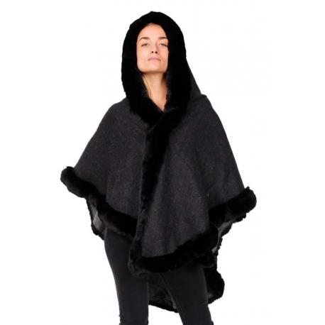 Poncho marine bordé de fourrure avec capuche-My Dressing