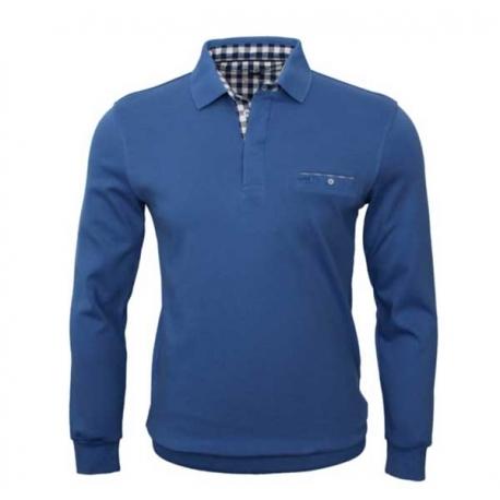 Polo Stil Park manches longues col chemise carreaux couleur bleu pétrol-My Dressing