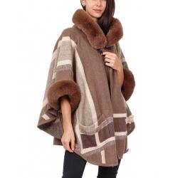 Veste hiver femme fourrure à capuche taupe