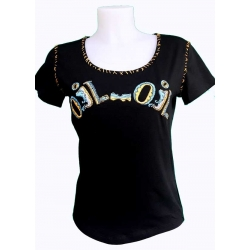 Lulu H Tee shirt femme original noir