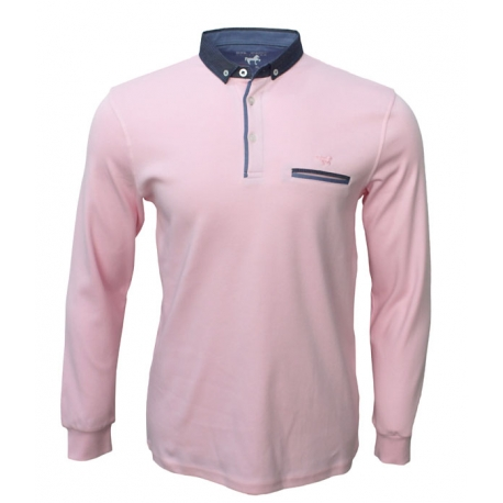 Polo Stil Park col chemise rose clair manches longues col chemise jeans My-Dressing