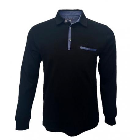 Polo Stil Park noir col chemise jeans manches longues poche poitrine