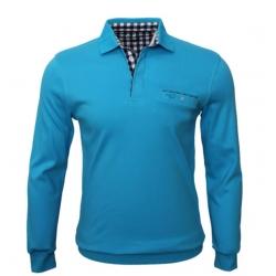 Stil Park-polo homme turquoise avec poche col carreaux