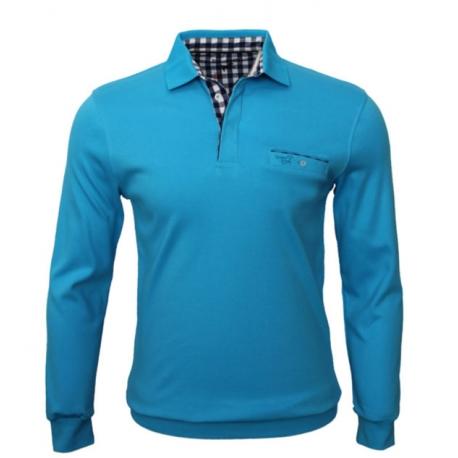 Stil Park-polo homme avec poche poitrine turquoise col carreaux