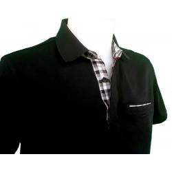 Polo avec poche pour homme manches courtes noir