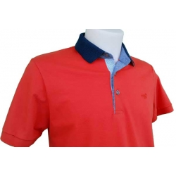 Polo Stil Park orange manches courtes col marine poisson