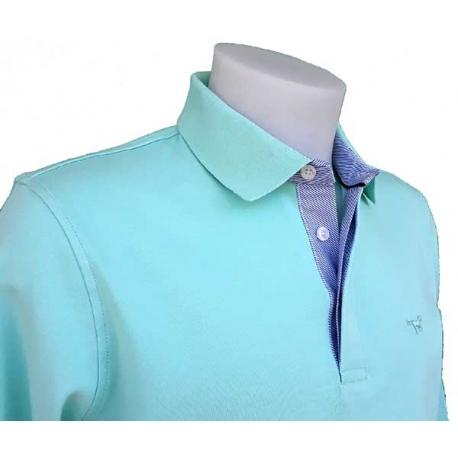 Stil Park Polo vert d'eau manches longues col chemise bleu-My Dressing