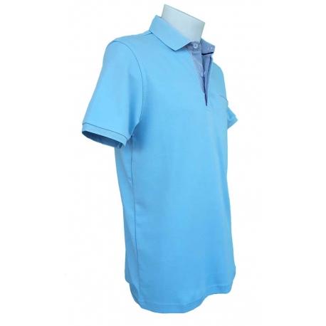 Polo homme Stil Park manches courtes bleu ciel col chemise-My Dressing