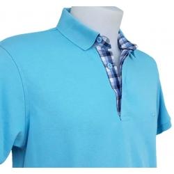 Polo Stil Park manches courtes bleu turquoise col carreau