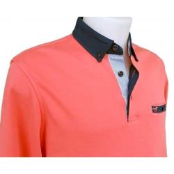 Polo Stil Park orange corail manche longue avec poche poitrine