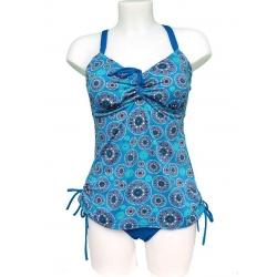 Maillot tankini bleu et imprimé Ocean Wear