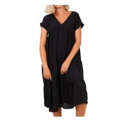 Robe longue noire manches courtes