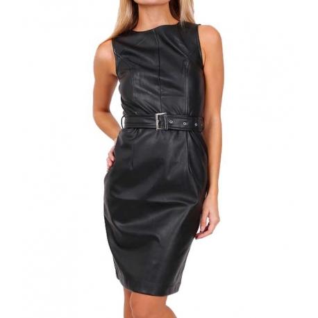 Robe simili cuir noir My Dressing