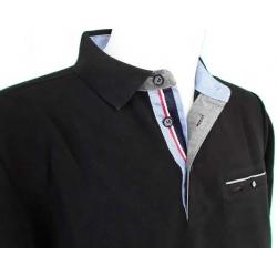 Stil Park-polo homme noir avec poche poitrine et liseré France