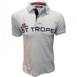 Polo St Tropez blanc à manches courtes