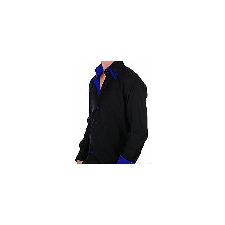 Chemise Italienne noir et bleu