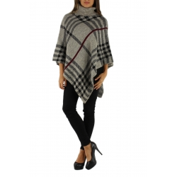 Beige poncho with black and burgundy check pattern