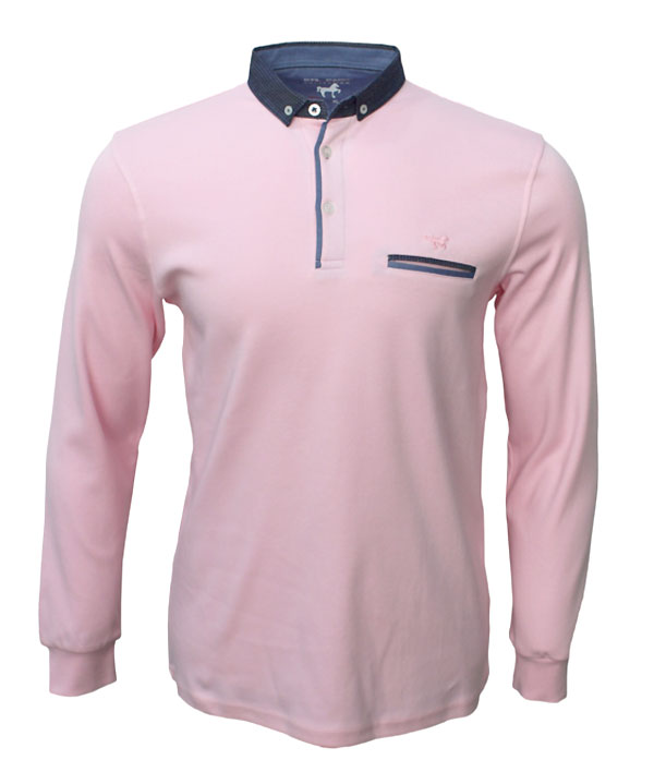 Polo homme rose col jeans