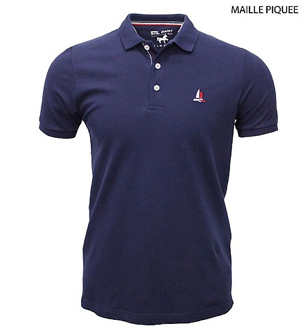 Polo homme marine manche courte