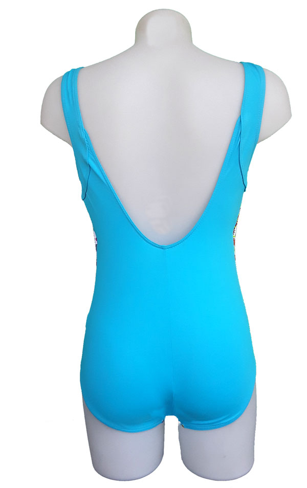 maillot 1 pièce dos nu turquoise