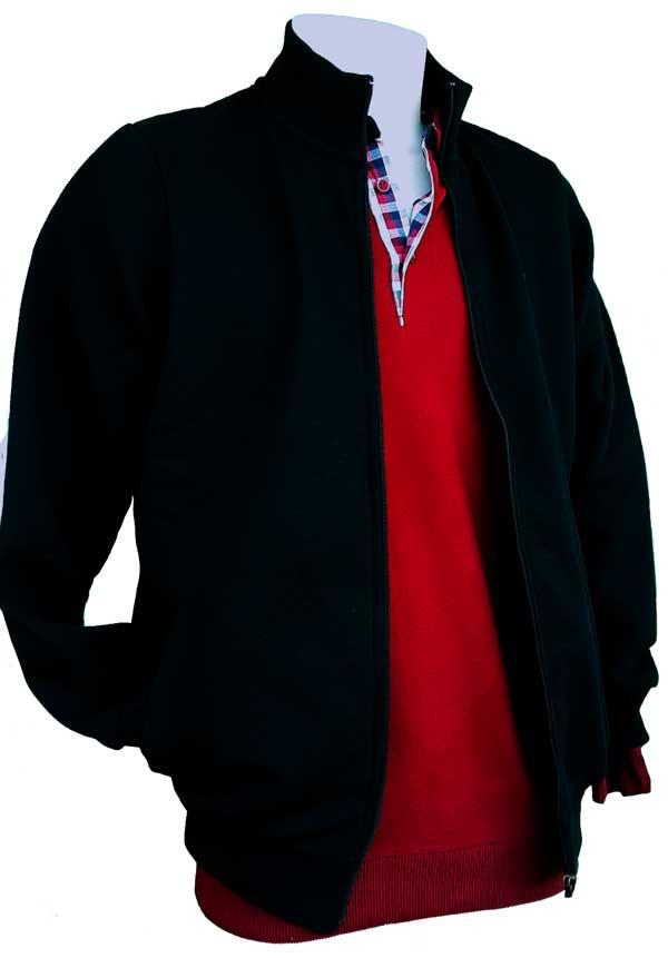 Gilet homme zippe et polo rouge