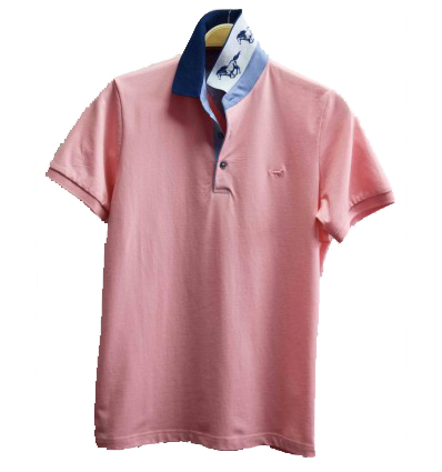 polo-homme-rose-maille-piquée