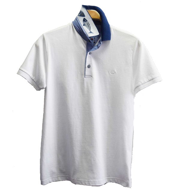 Polo homme blanc manches courtes
